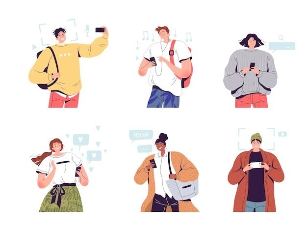 Reeks vrolijke mensen met telefoons in hun handen.