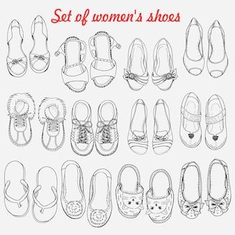 Reeks vrouwenschoenen op witte achtergrond