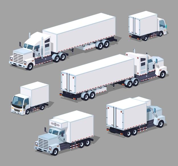 Reeks witte 3d lowpoly isometrische vrachtwagens