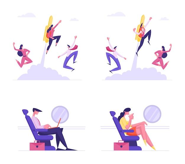 Reeks zakelijke karakters die per vliegtuig reizen voor werkreis
