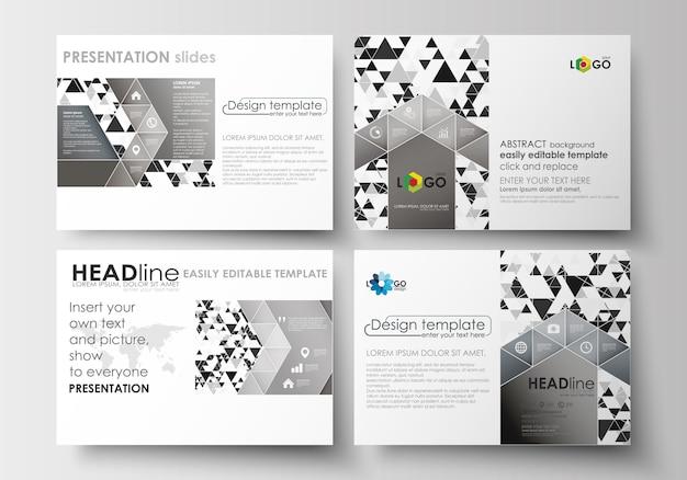 Reeks zakelijke sjablonen voor presentatiedia's. abstracte driehoekige achtergrond