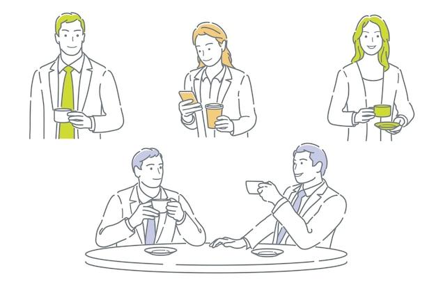 Reeks zakenmensen die een koffiepauze nemen die op een witte achtergrond wordt geïsoleerd
