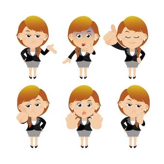 Reeks zakenvrouwkarakters in verschillende poses