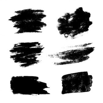 Reeks zwarte grunge vectorborstels