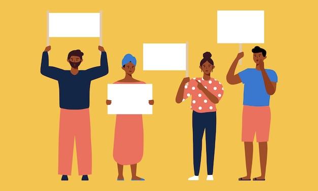 Reeks zwarte mensen op protestdemonstratie die lege lege bannerillustratie houden. zwarte-geschiedenismaand