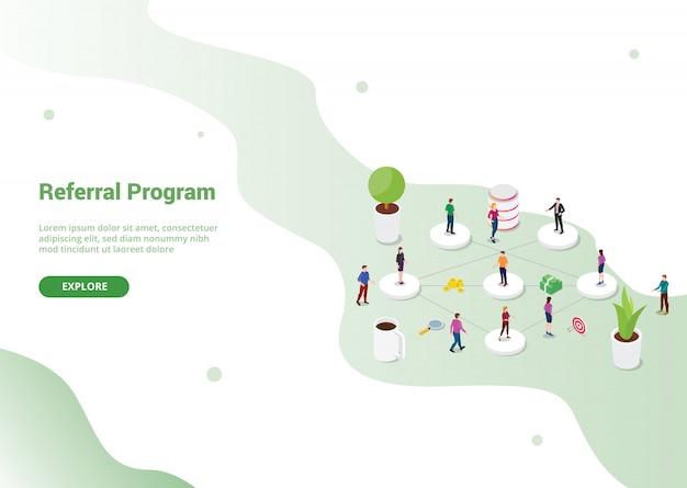 Referral-partnerprogramma voor website-sjabloon of startpagina van de landing