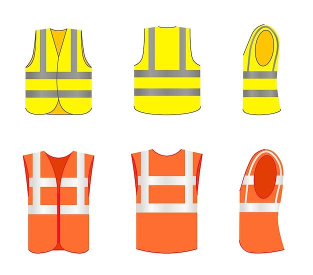 Reflecterende veiligheidsvest outfit voor-, zij- en achteraanzicht set. beschermend vest draag uniform met neon streep voor bouwvakker of bouwer vectorillustratie geïsoleerd op een witte achtergrond
