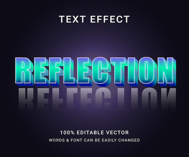 Reflectie volledig bewerkbaar teksteffect