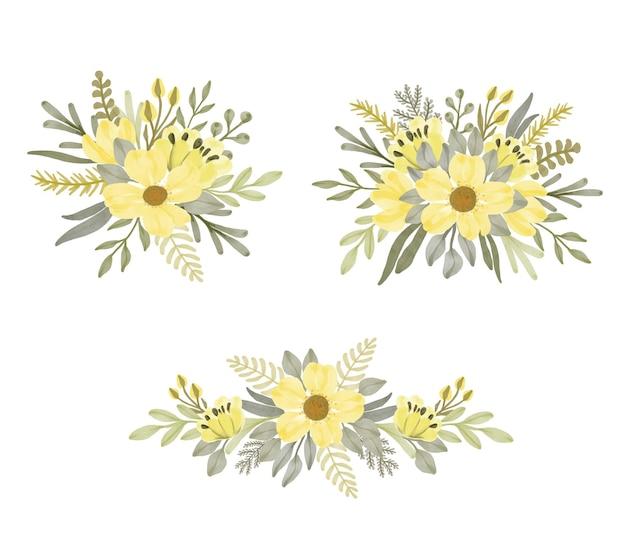 Regeling bloemenwaterverf van gele bloemen