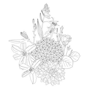 Regeling met bloemen. floral contouren van roze hortensia dahlia zinnia