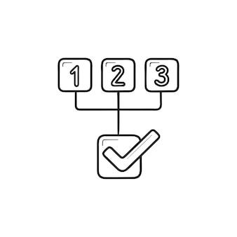 Regeling met drie stappen hand getrokken schets doodle pictogram. plan volgorde, schema, workflow grafiek concept. schets vectorillustratie voor print, web, mobiel en infographics op witte achtergrond.