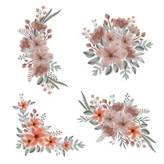 Regeling van bloemen bruine en oranje bloemen