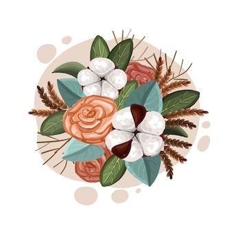 Regeling van vintage bloemenboeket