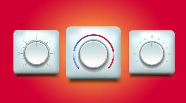 Regelknop temperatuur geluidsdruk en snelheid illustratie