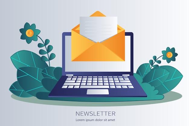 Regelmatig verspreide nieuwspublicaties via e-mail aan haar abonnees