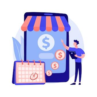 Regelmatige overschrijving, contante transactie, geplande betaling. online bankieren, geldovermakingen, persoonlijk accountbeheer. geld addresser stripfiguur