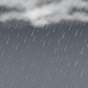 Regen 3d met vallende waterdruppels en grijze onweerswolken. regendruppel weer achtergrond, regen plons douche