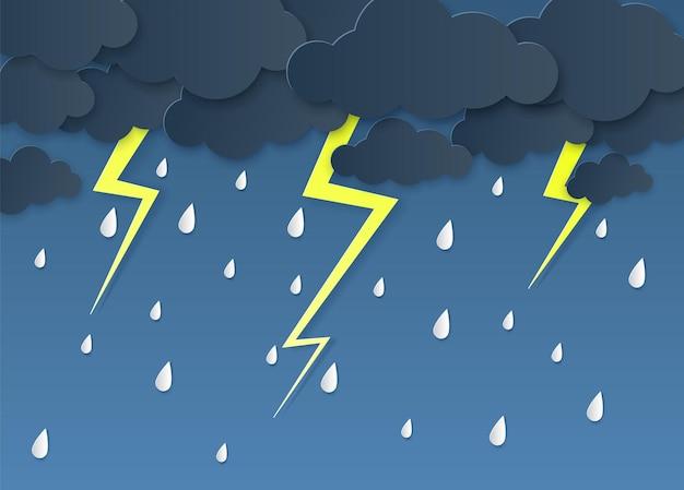 Regen donder bliksem papier gesneden