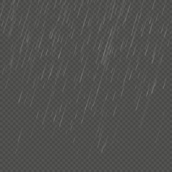 Regen geïsoleerd realistisch hoekeffect. transparant natuur regen sjabloon.