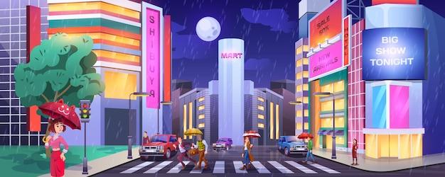 Regen in donkere stad. peddels met paraplu's die de weg oversteken. mensen op zebrapad met auto's. nat en regenachtig weer in nachtstad cartoon vector met hotel, winkels of café verlichte gebouwen gevels.