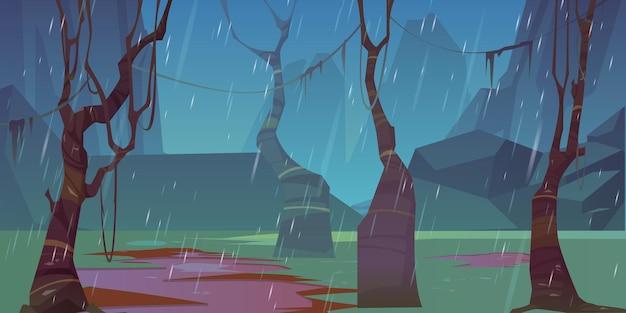 Regen in herfstbos, kale bomen en bergen