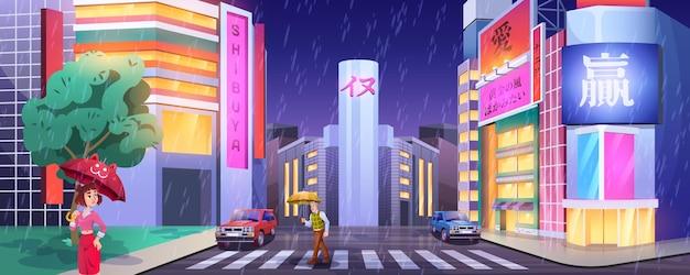 Regen in nacht stad. voetgangers met paraplu's die de weg oversteken. mensen op zebrapad met auto's. cartoon straat verlichte vitrines lichten in nat, regenachtig weer. stadsgezicht met gloeiende ramen van winkels.