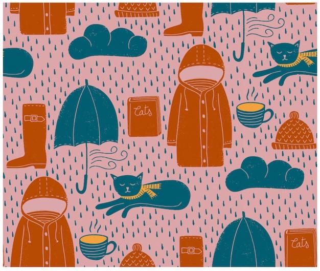 Regenachtige dagen naadloos patroon