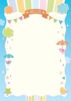 Regenachtige schattige sjabloon