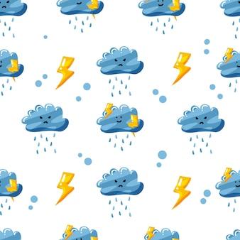 Regenachtige wolk met donder naadloos patroonontwerp met vlakke hand getrokken stijl