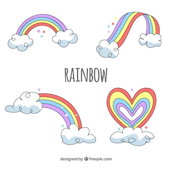 Regenbogen collectie met verschillende vormen in platte syle