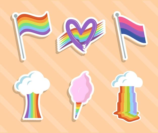 Regenbogen fantasie pictogrammenset