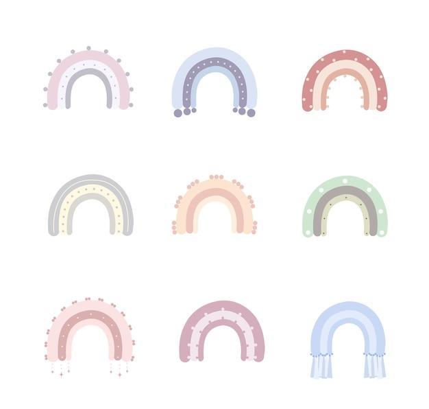 Regenbogen in boho-stijl in verschillende kleuren. regenbogen met wolk, zon, sterren en harten.
