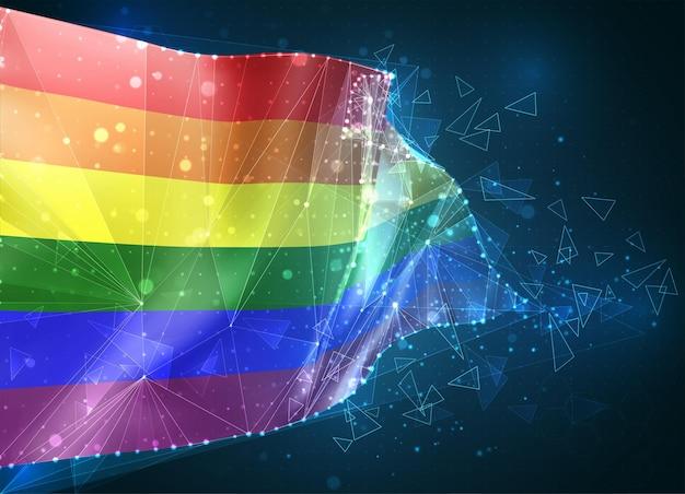 Regenboog 3d-vlag op blauwe achtergrond met hud-interfaces