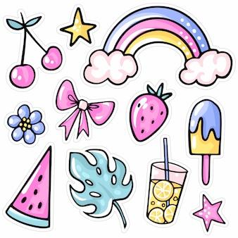 Regenboog, aardbei, kers, ijs, watermeloen, tropisch blad, limonade, bloem.