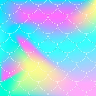 Regenboog achtergrond. zeemeermin schalen. holografische afdrukken.