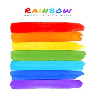 Regenboog aquarel borstel uitstrijkjes