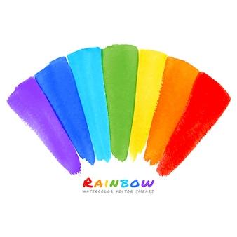 Regenboog aquarel penseel uitstrijkjes, illustratie