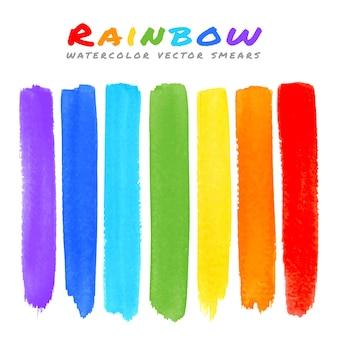 Regenboog aquarel penseel uitstrijkjes