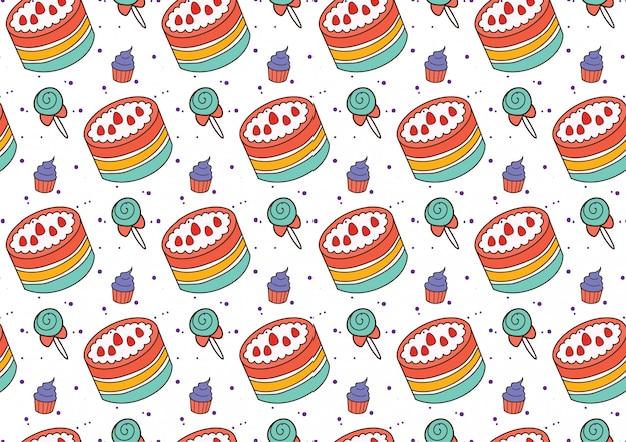 Regenboog cake naadloze achtergrond