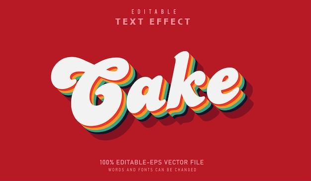 Regenboog cake teksteffect met bewerkbaar lettertype