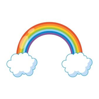 Regenboog cartoon geïsoleerd op witte achtergrond. vector illustratie
