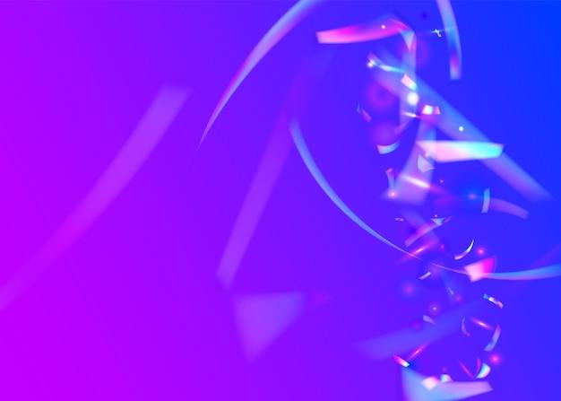 Regenboog confetti. glitch-effect. neon schittert. digitale kunst. blauwe laserachtergrond. metaal barsten. kristal folie. festival achtergrond vervagen. paarse regenboog confetti
