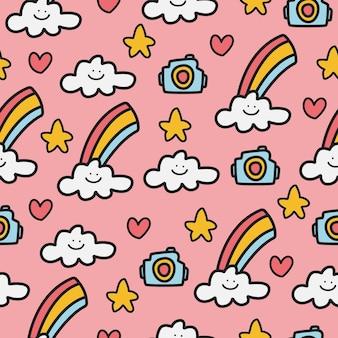 Regenboog doodle cartoon patroon ontwerp