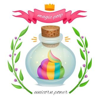 Regenboog eenhoorn kak in magische fles met bloemen frame