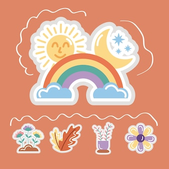Regenboog en set stickers vlakke stijl iconen.