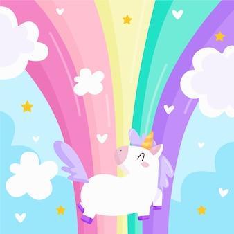 Regenboog en sprookje eenhoorn