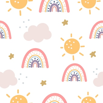 Regenboog en sterren naadloos patroon op paarse achtergrond. scandinavische stijl