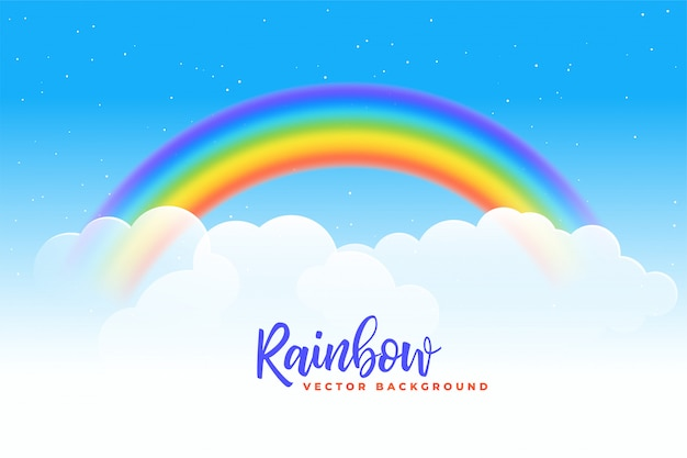 Regenboog en wolkenachtergrond