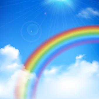 Regenboog en zonstralen realistische achtergrond met wolken en blauwe hemel