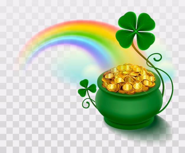 Regenboog, groen blad geluksklaver en pot vol goud